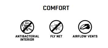 der komfortbereich des helms besteht aus fly net, antibakterielle pads und eine perfekte belüftung