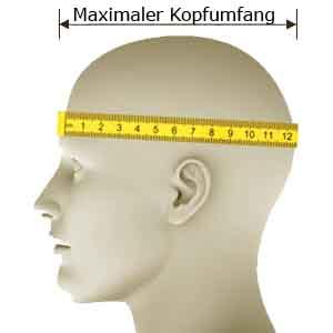für den richtigen sitz muss der maximale Kopfumfang ermittelt werden
